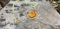Iridescent Copper Dipped Aspen Real Leaf Hoop Necklace Nature Jewelry CAHN