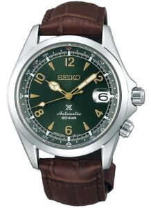 New Seiko Alpinist Green Dial Brown Leather Strap Men's Watch SPB121