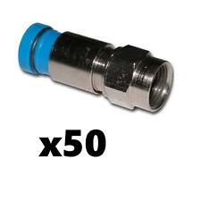 Belden SNS1P6 RG6 Coax Cable Compression F Connectors Blue 50 Pack Snap-N-Seal