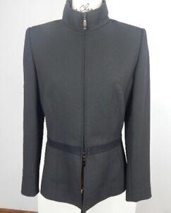 KASPER Charcoal Gray Blazer~Jacket ~Fitted ~Office~Dressy ~Nehru Collar~size 8