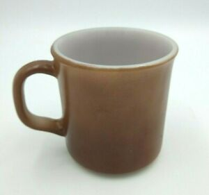 Vintage Anchor Hocking Milk Glass Coffee Mug D Handle Brown U.S.A. Oven Proof