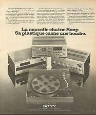 Publicité 1975  SONY chaine hi fi tuner platine tourne disque musique son radio