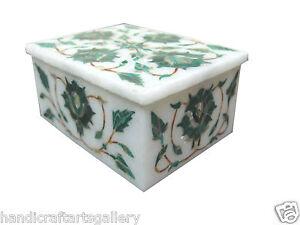 "4""x3""x2""Little Girl Jewelry Box Malachite Pietradura Floral Inlaid Decor Gifts"