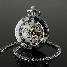 Face Hand-winding Classic Chain Luxury Mens Pocket Watch Mechanical Silver Open