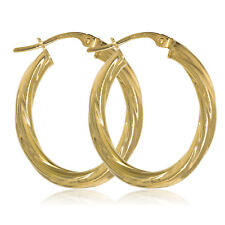375 9CT GOLD OVAL 27X3MM TWISTED TUBE HOOP CREOLE SLEEPER PIERCED EARRINGS BOXED