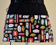 3 pocket waist aprons server waitress Super hero lingo ,bam smash batman boom