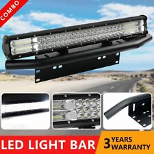 23Inch Front License Bracket + 23'' Cable LED Work Light Bar Combo Offroad SUV