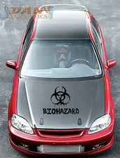 "24"" biohazard vinyl decal sticker hood car wall black window zombie skull poison"