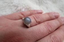 9 CT Oro Blanco 2.65 CT Piedra Lunar Redondas de cabujón anillo de piedra Talla N