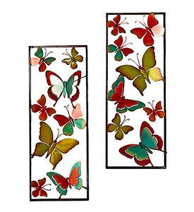 Wanddeko Schmetterling Metall bunt 74 cm (923122 Gartendeko Wandschmuck Wandbild