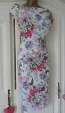 M&Co Cowl Neck Ruched Lined Dress UK14 STUNNING White Pink Multi Floral Print