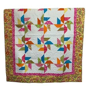 Multicolor Pink Floral Whimsical Quilt Throw Framed Pinwheel 56x45