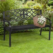 Gartenbank aus Stahl Terrassenbank klassischer Sitzbank für 2-3 Personen