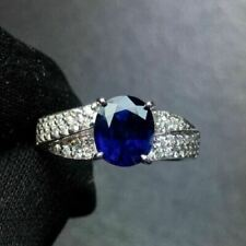 1.50Ct Oval Cut Blue Sapphire Women's Pretty Engagement Ring 14K White Gold Over