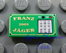 NEW Lego Minifig SAFE LOCK KEYPAD 1x2 Franz Jager Green Train Tile - Ticket Game