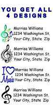 PERSONALIZED MUSIC  MUSICAL NOTES ADDRESS LABELS WITH FREE SHIPPING