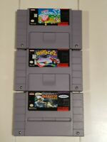 Lot of 3 Super Nintendo Snes Games Kirbys Avalanche Uniracers Super Baseball Sim