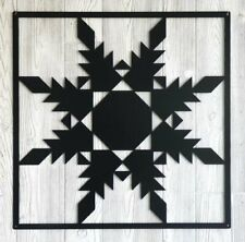 """Feathered Star- Barn Quilt - Red Metal 12"""" x 12"""" Quilt Block Sign ..21..."""