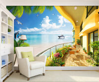 Huge 3D Balcony Fantasy Dragon Fire Wall Stickers Wallpaper Mural 623
