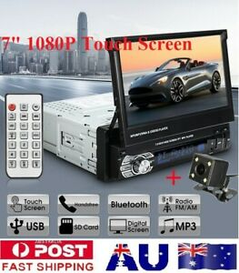"""1Din 7"""" 1080P Car Stereo Flip Out Touch Screen Bluetooth M'Player Reverse Camera"""