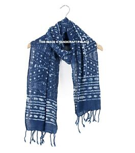 Indian Cotton Blue Hand Block Print Fabric Women Long Scarf Sarong Dupatta Stole