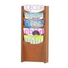 Safco 5 Pocket Wood Magazine Rack in Cherry
