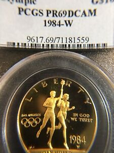1984-W Olympic $10 PROOF  Gold Coin PCGS PR-69 DCAM