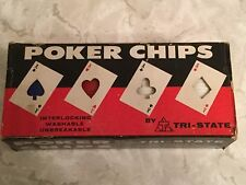 Vintage Poker Chips By Tri-State Deluxe Chips 100 Red White Blue, Cards, Card