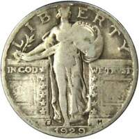 1929 S 25c Standing Liberty Silver Quarter US Coin VG Very Good
