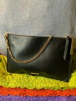 Vince Camuto Fee Black & Gold Multi Leather Credit Card Chain Zip Shoulder Bag