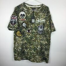 NWT Punk Royal Mens Size XL Camouflage Embroidery Patches Short Sleeve Shirt. C6