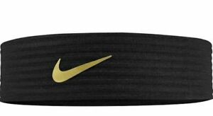 Unisex Adult Nike Novelty Ribbed Swoosh Logo Headband Black Metallic Gold