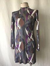 Emilio Pucci Firenze Grey Multi-Colored Geometric Mock Turtleneck Silk Dress.
