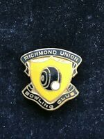 Richmond Union Bowling Club Badge Pin Vintage Lawn Bowls