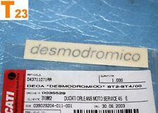 """1 autocollant de flanc DUCATI """"DESMODROMICO"""" Sport Touring ST2 ST3 ST4S neuf"""