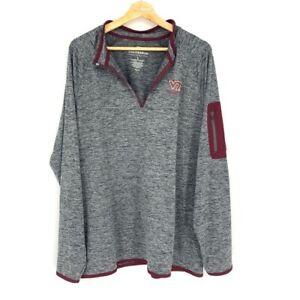 Virginia Tech Hokies Mens Colosseum Pullover Shirt Gray Space Dye Stretch L New