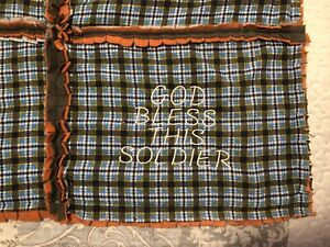 """Handmade Military """"God Bless This Soldier"""" Coverlet Throw 68x50 Flannel & Fleece"""