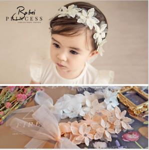 2PCS Newborn Baby Girls Flower Ribbon Headband Soft Elastic Bow Knot Hair Band