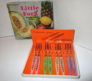 Vintage Little Fork Stainless Steel Cocktail Mini Hors D'oeurve Forks 8