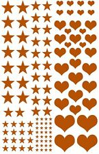 "Stars Hearts 119 pcs Gold Fused Glass Decals 5"" X 3-1/2"" Card 19CC1116"