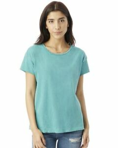 nEW Alternative Ladies Destroyed T-Shirt Tee Green Small 05913