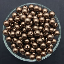 Wholesale 30PCS 10mm Brown Acrylic Round Pearl Spacer Loose Beads Jewelry Making
