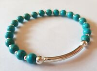 925 sterling silver gemstone bracelet various turquoise heart beads charm stack