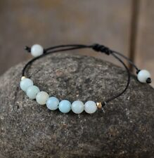 Natural Amazonite Beaded Bracelet Gemstone Crystal Cord Stacking Friendship