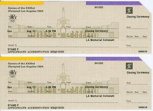 2 Unused Tickets: 1984 Summer Olympics Closing Ceremony Los Angeles (Athletes)