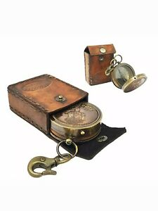 Boy Scouts Pocket Compass Nautical Brass With Leather Case
