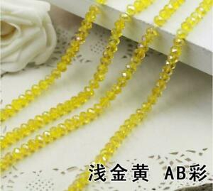 Faceted Rondelle Bicone Glass Crystal Loose DIY Beads Assorted 8mm 35pc yellow