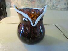 "Murano Art Glass Owl Vase Browns White Trim 6"" Tall Mint"