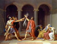 Jacques Louis David Oath of the Horatii Poster Reproduction Giclee Canvas Print