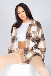 Brown Check Fleece Casual Jacket Shacket Top Shirt Coat Oversize Baggy Womens